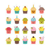 Set of cupcakes and muffins. Kawaii cupcakes set.  Royalty Free Stock Photography