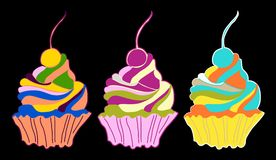 Set of cupcakes and muffins, vector illustration Stock Image