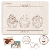Set of cupcakes on old postcard, with stamps Royalty Free Stock Image