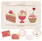 Set of cupcakes on old postcard with stamps Stock Images