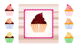 Set of cupcakes with sample label. Set of different cupcakes with sample label Royalty Free Stock Photography