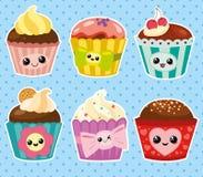 Set of cupcakes. Set of six cartoon cupcakes. Vector illustration Stock Photos