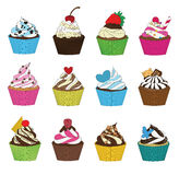 Set of cupcakes in sketch style Royalty Free Stock Photography