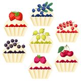 Set of cupcakes with various filling. Royalty Free Stock Photos