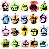 Set of  cupcakes,vector  Stock Images