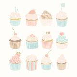 Set of 12 cupcakes. Vector EPS 10 hand drawn illustration Stock Photography