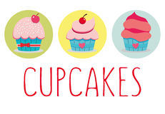 Set of cupcakes. Vector illustration of 3 Cupcakes on white background/3 yummy cupcakes Royalty Free Stock Photography