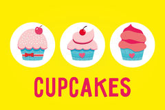 Set of cupcakes. Vector illustration of 3 Cupcakes on yellow background/3 yummy cupcakes Stock Images