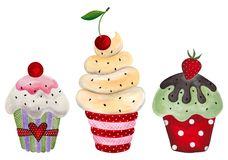 Set of cupcakes. Watercolors on paper Royalty Free Stock Image