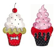 Set of cupcakes. Watercolors on paper Royalty Free Stock Photography
