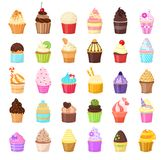 Set of cupcakes on white background. Vector illustration. Cute Sweet pastries decorated with fruit, chocolate, sprinkles royalty free illustration