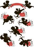 A set of cupids. A set of cute cupid silhouettes decorated with hearts and floral ornament Royalty Free Stock Photos