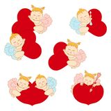 Set cupids with hearts Stock Photography