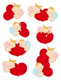 Set with cupids for Valentine's Day Stock Image