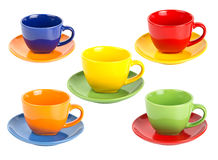 Set of cups. Set of colorful tea cups isolated on white bbackground Royalty Free Stock Image