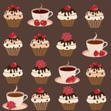 A set of cups and cakes Stock Photography