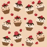A set of cups and cakes Stock Images