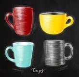 Set cups chalk Stock Image