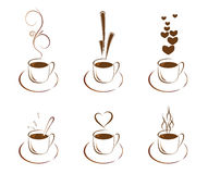A set of cups with coffee Stock Photography