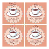 Set of cups of coffee. Set of cup of coffee hand drawn style  illustrations with different titles Stock Photography