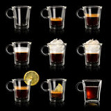 Set cups of coffee Stock Photos