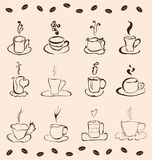 Set of 12 cups of coffee Stock Image