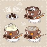 Set of cups of coffee in handmade cartoon style Stock Images