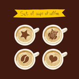 Set of cups of coffee with a pattern Stock Image