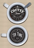 Set of cups for coffee and tea with ornament inscription Royalty Free Stock Photos
