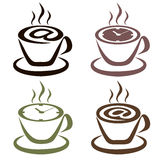 Set of cups of coffee (Internet & time). Variations on a Theme pastime in cafes and Internet cafes Stock Images