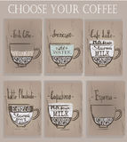 Set of cups with different coffee. Vector illustration Stock Image