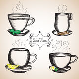 Set of cups drawn Stock Images
