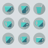 Set of cups. Flat style. Set of cups in the flat style,vektor , different shapes, isolated objects, design elements, trendy colors, icons, circle, tea coffee Royalty Free Stock Image