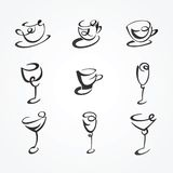 Set of cups and glasses Stock Photo