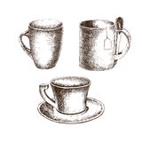 Set of cups with hand-drawing style Stock Photo