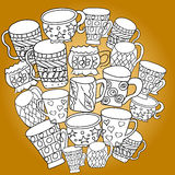Set with cups and mugs. Hand drawn zentangle. Vector illustration eps 10 for your design. Yellow background. Royalty Free Stock Image