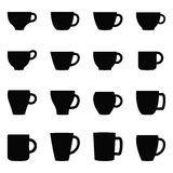 Set of cups and mugs,  illustration Royalty Free Stock Photography