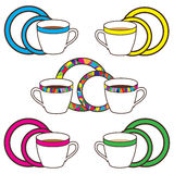 Set of cups, plates and saucers with bright trim. Abstract Stock Photography