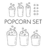 Set of cups with popcorn and kernels flying into the bucket. Different sizes of popcorn boxes isolated on white background. vector illustration