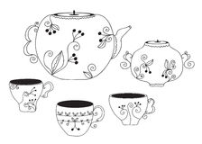 Set of cups and pot Stock Image
