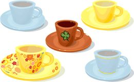 Set of cups and saucers. On white background Stock Illustration
