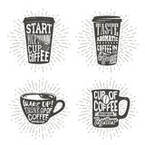 Set of cups silhouette with lettering and sunburst. Stock Photos
