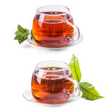 Set of cups with tea Stock Photo
