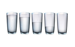 Set of cups of water with filling Stock Photos