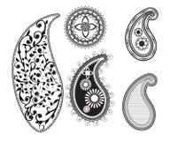 Set of curcular mandalas and paisley. Mehndi design. vector illustration