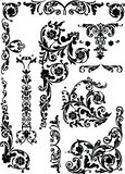 Set of curled ornament elements Stock Photography