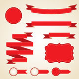 Set of curled red ribbons, vector illustration Royalty Free Stock Images