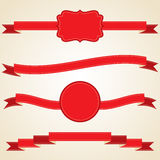 Set of curled red ribbons, vector illustration Royalty Free Stock Photography