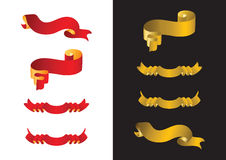 Set of curled ribbons Stock Photography