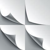 Set of curled white paper page corners with Royalty Free Stock Photo